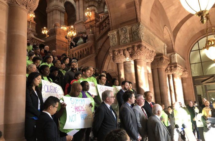Danny Glover shouted down by protestors at NYS Capitol