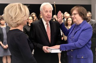 Photo courtesy of the Office of the Acting AGActing AG Underwood was sworn in on May 8, 2018 by NY Chief Judge DiFiore. Underwood's husband Martin Halpern held the Tanach.